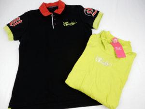 ダンスウィズドラゴンの買取りポロシャツです。黒のロゴ刺繍ポロシャツと黄色のタートルです。未使用品です。