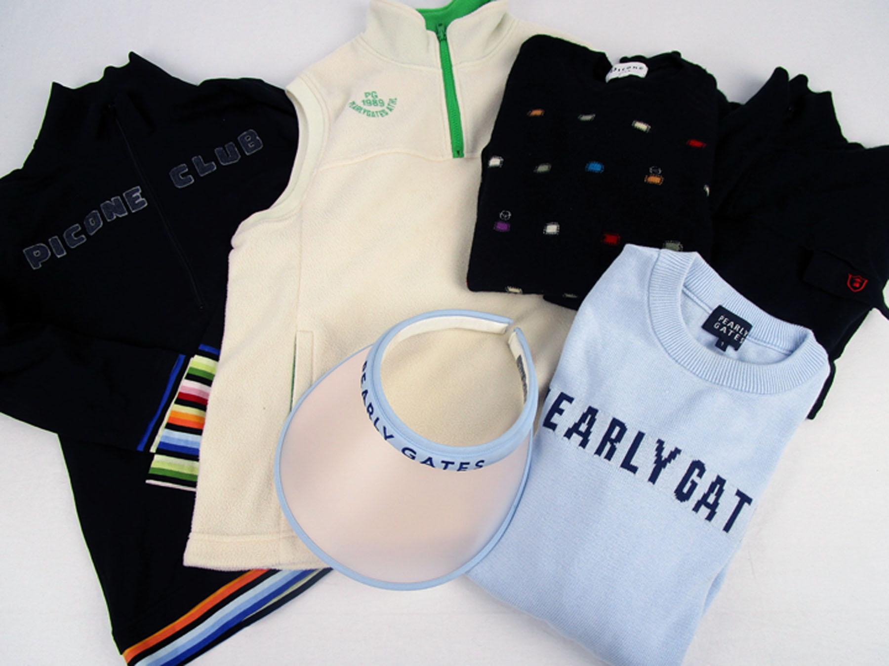 パーリーゲイツの長袖セーター、シャツ、フリースベスト、ツバ広サンバイザーとピッコーネのマルチボーダやカラフル模様のセーターです。