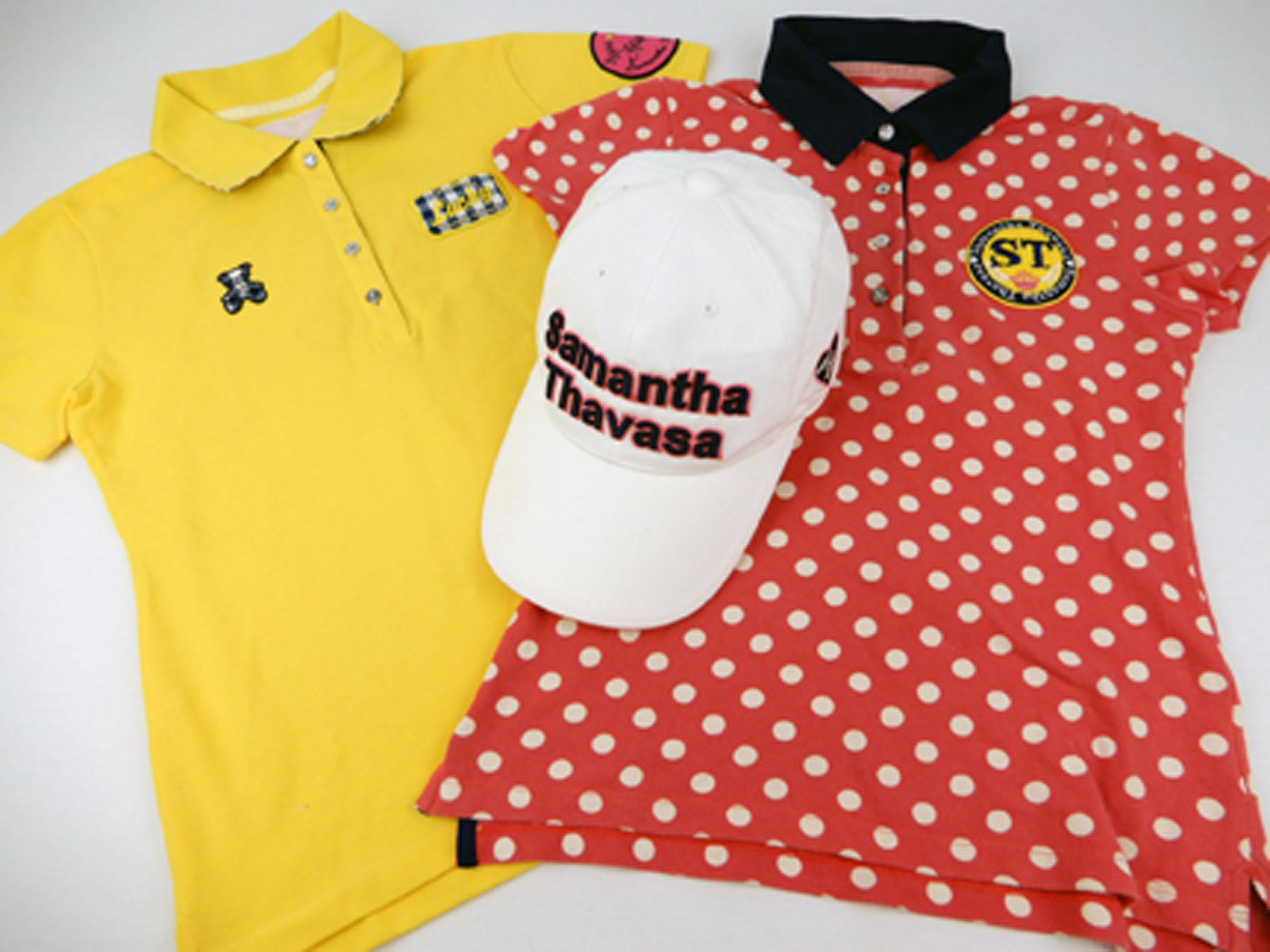 サマンサタバサの水玉ポロシャツと黄色のポロシャツとロゴ付きポロシャツです。