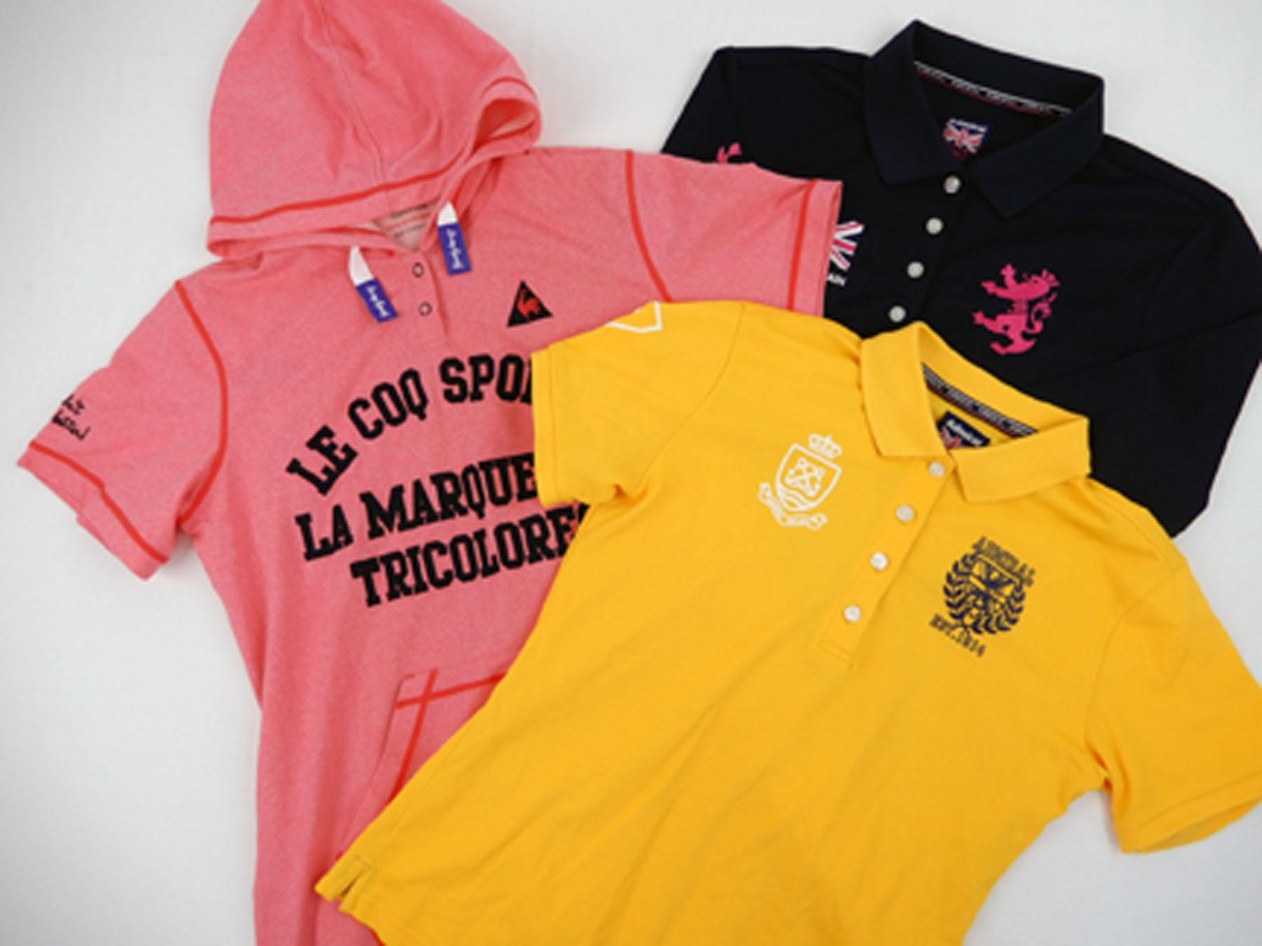 ゴルフウェアの買取実績です。ルコックの半袖パーカーワンピース(ピンク)とアドミラルのブラックポロシャツとイエローポロシャツを買取りました。