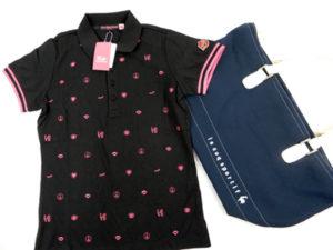 ダンスウィウドラゴンの総柄刺繍ポロシャツとルコックのトートバッグです。