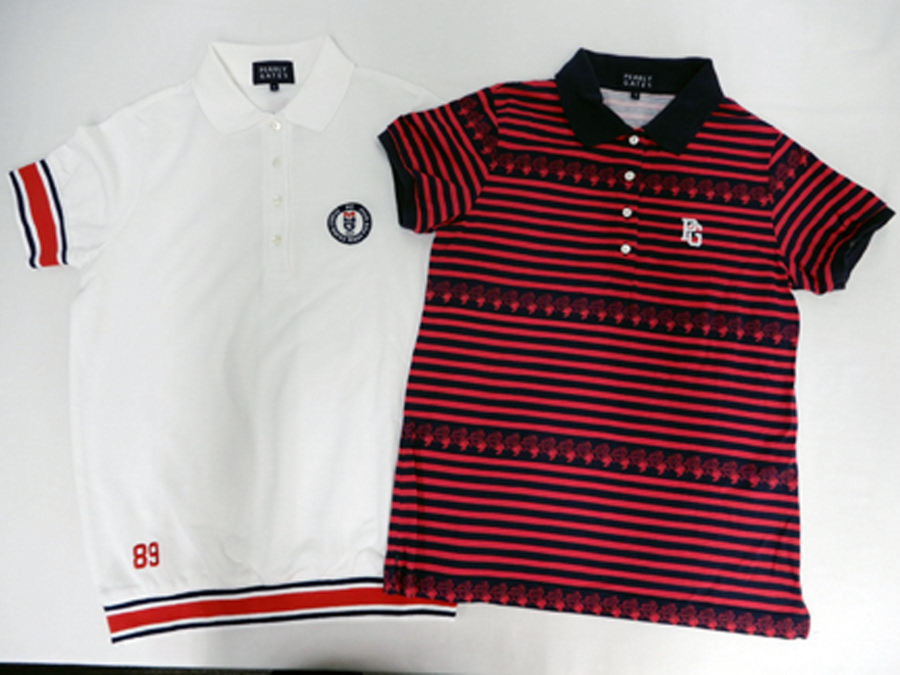 パーリーゲイツ(PEARLY GATES) のポロシャツ(白) 、ポロシャツ(赤系ボーダー)です。 こちらのポロシャツは、2017年モデルでした。