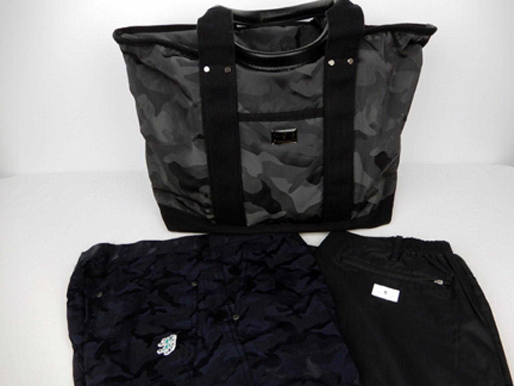 マーク&ロナ(MARK&LONA)のボストンバッグ(カモフラ&スカル柄)とパンツ(黒)、アドミラル(Admiral)のパンツ(黒系カモフラ柄)を買取ました。