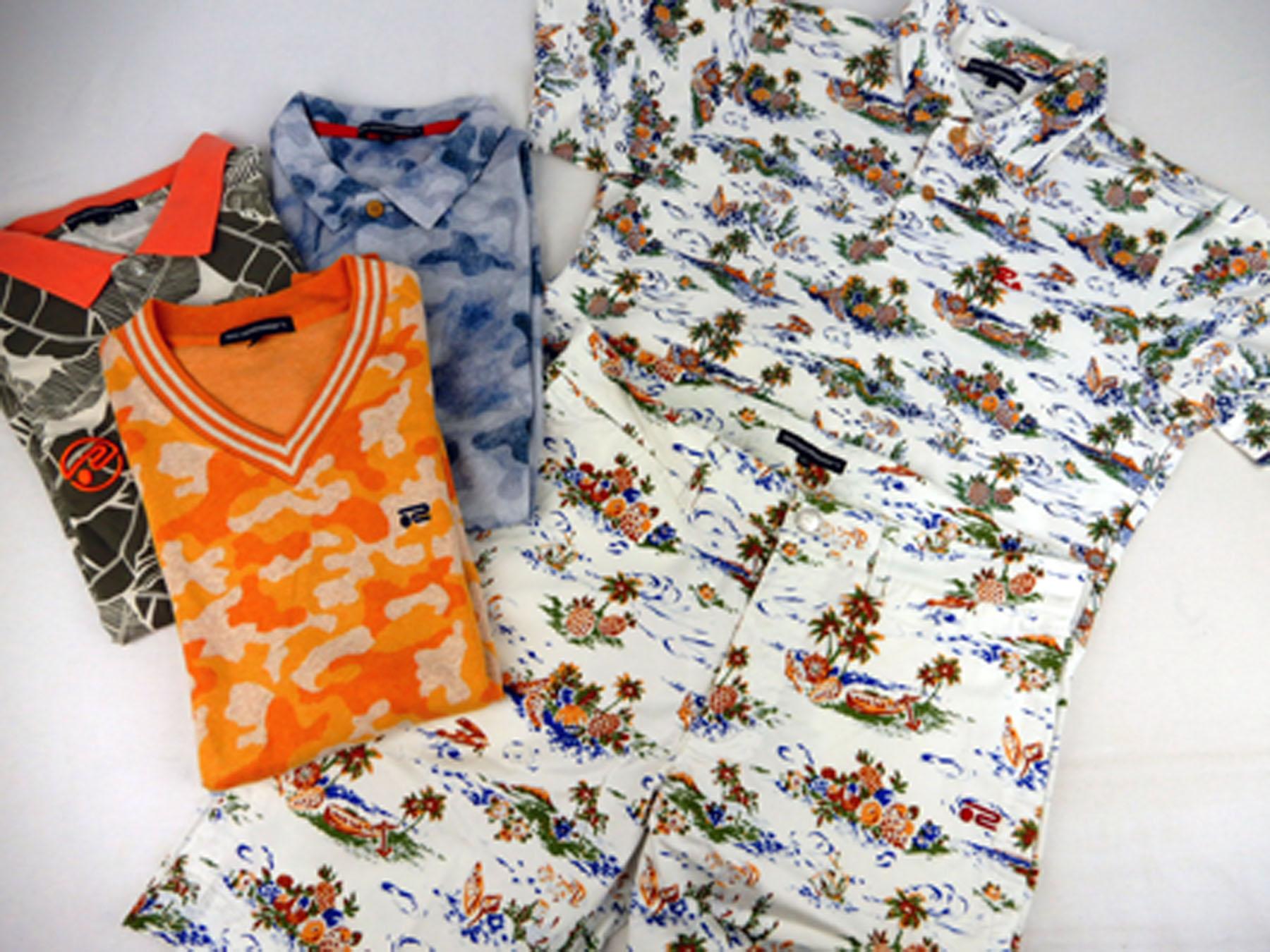ロサーセン(Rosasen)の カモフラ柄のベスト、柄シャツやポロシャツ とハワイアン柄のシャツ&ハーフパンツです。