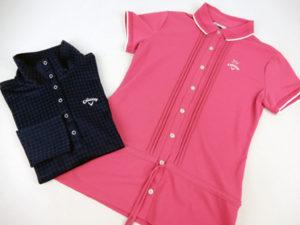 キャロウェイのネイビーの長袖ポロシャツとピンクの半袖ポロシャツ