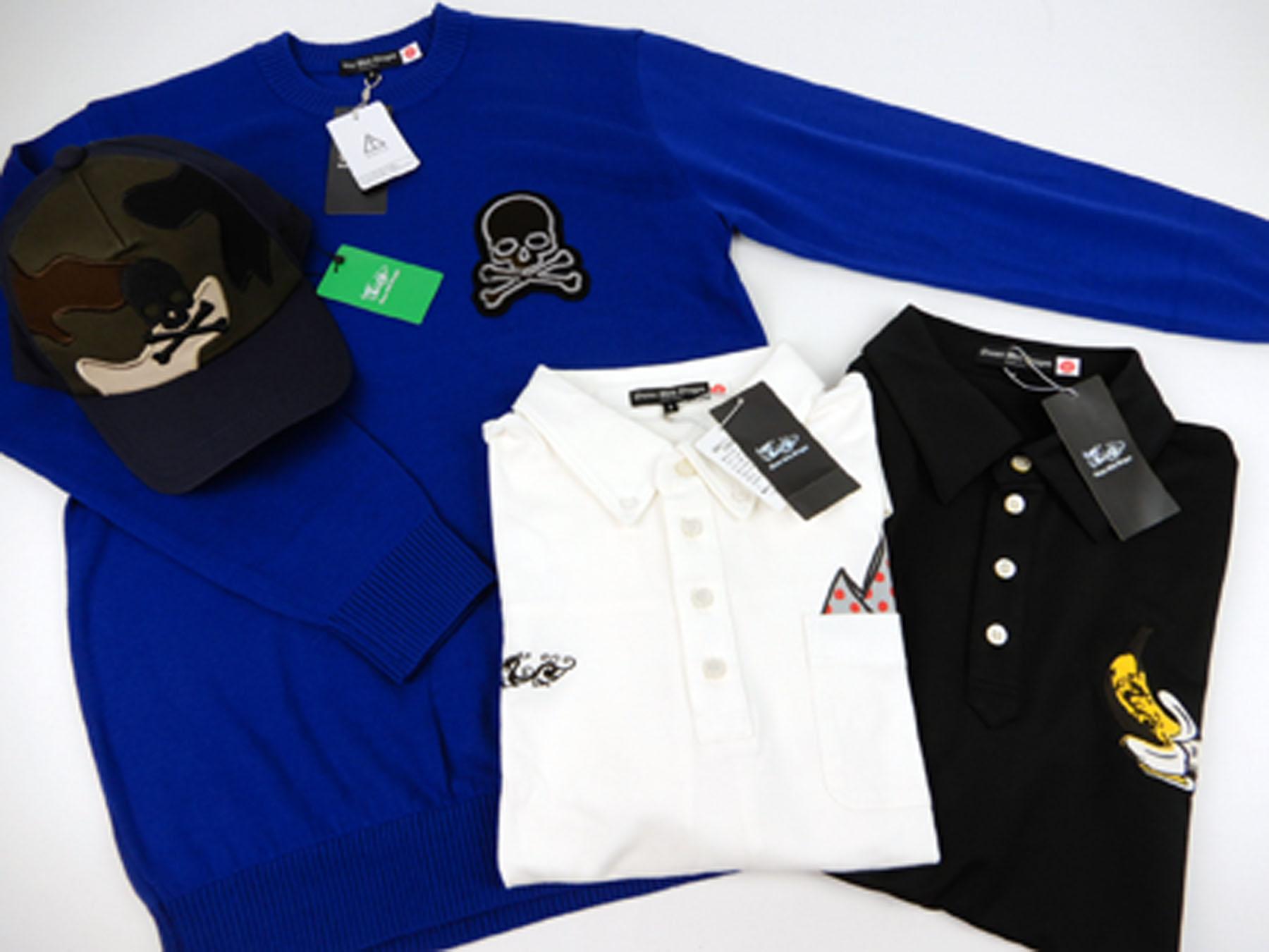 ダンスウィズドラゴン(DANCE WITH DRAGON)のゴルフウェアの買取りです。詳細は、セーター(青:スカルロゴ)とキャップ(カモフラ&スカル)と半袖ポロシャツ(白)と半袖ポロシャツ(黒)です。